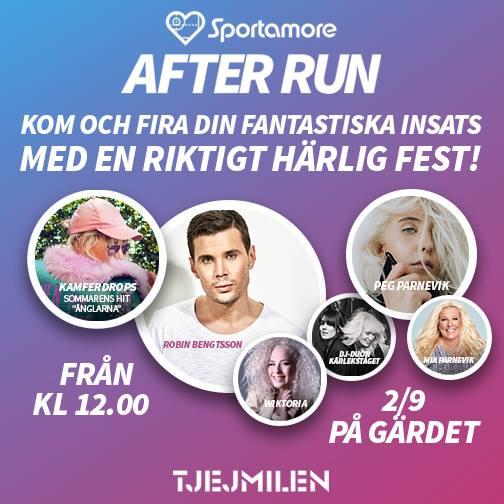 After Run med grymma artister som Robin Bengtsson, Wiktoria med fler.