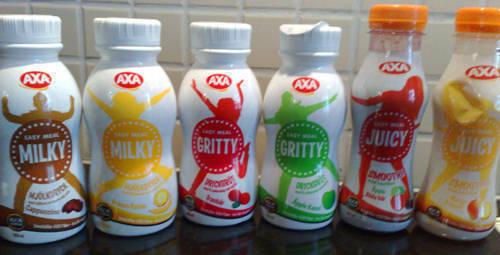 Axas uppdaterade sortiment av mellanmålsdrycker.