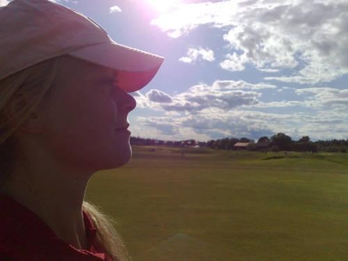 Jag på golfbanan.