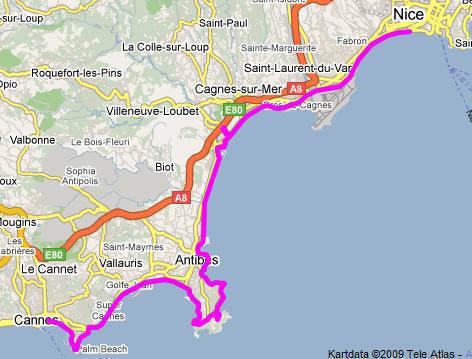 Karta över Marathon des Alpes-Maritimes.
