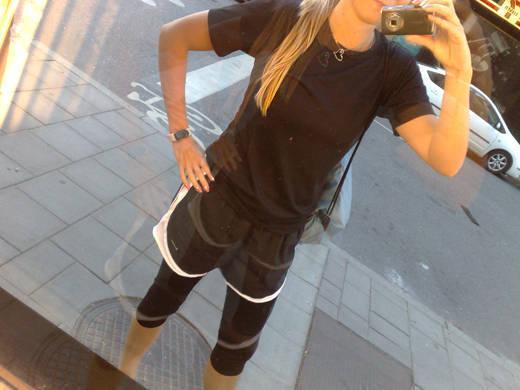 Gårdagens träningsoutfit. Topp från Soc. Shorts och tights från Nike.