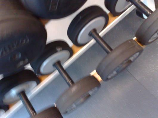 Fria vikter i gymmet.
