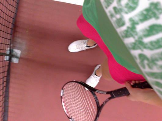 På tennisbanan imorse.