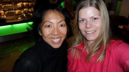 Monika och jag på Espresso House.