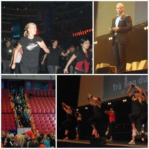 Jag tränar, VD-Kent håller tal, folk entrar Globen, Shape-klass på scen.