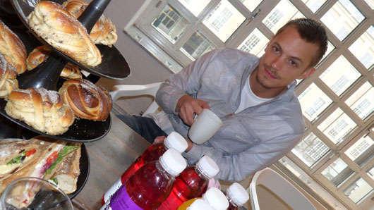 Joel under vår frukostintervju.