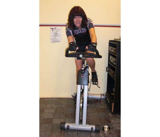 Kristina i cykelsalen.