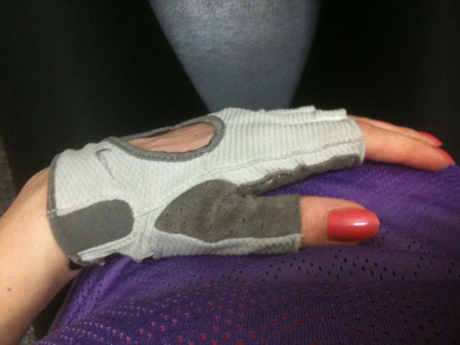 Jag gillar att träna i handskar.