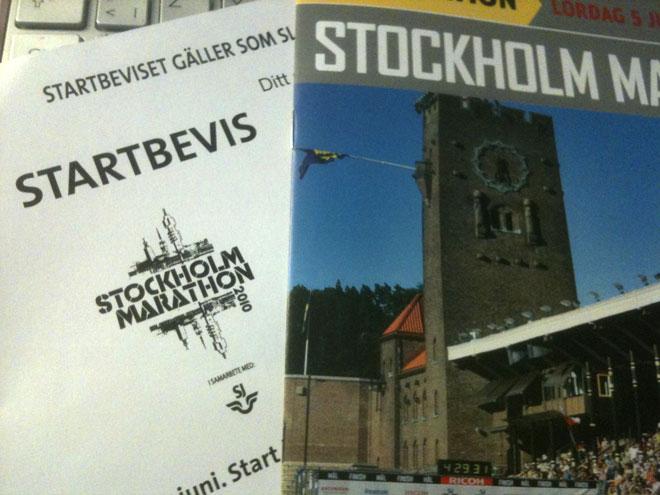 Startbevis för Stockholm marathon.