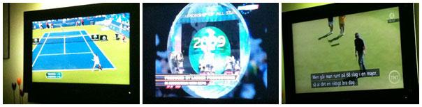 Sport på tv, tennis, cheerleading och golf.