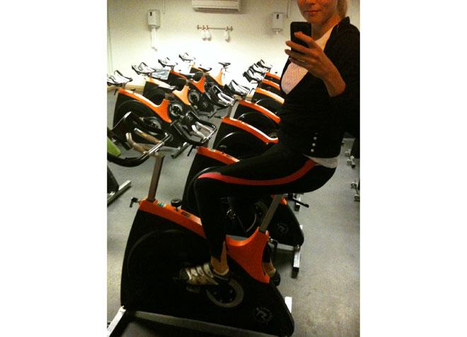 Jag paxade en cykel innan jag gick ut i gymmet för att köra lite styrka.