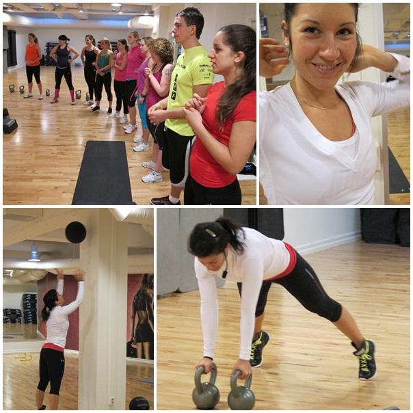 Bloggänget. Underst visar instuktören Sandra några övningar.