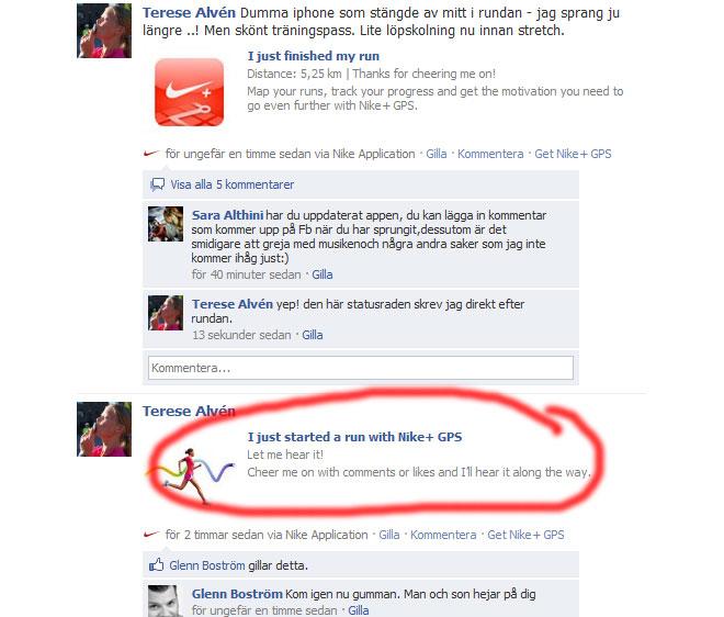 Facebook och Nikeplus.