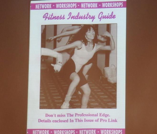Monika Björn visade upp en gammal härlig bild på sig själv (-94) under hennes föreläsning.