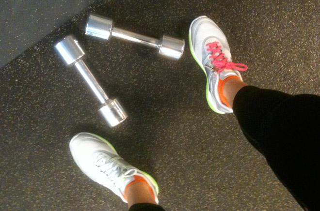 Jag använde 4 kg-vikterna till mina axelövningar.
