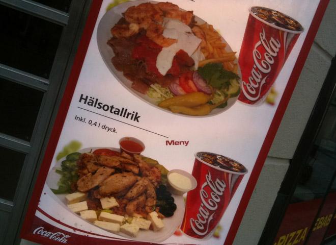 Hälsotallrik på kebabhak.