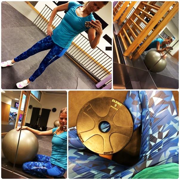 Morgonträning i blå träningsoutfit