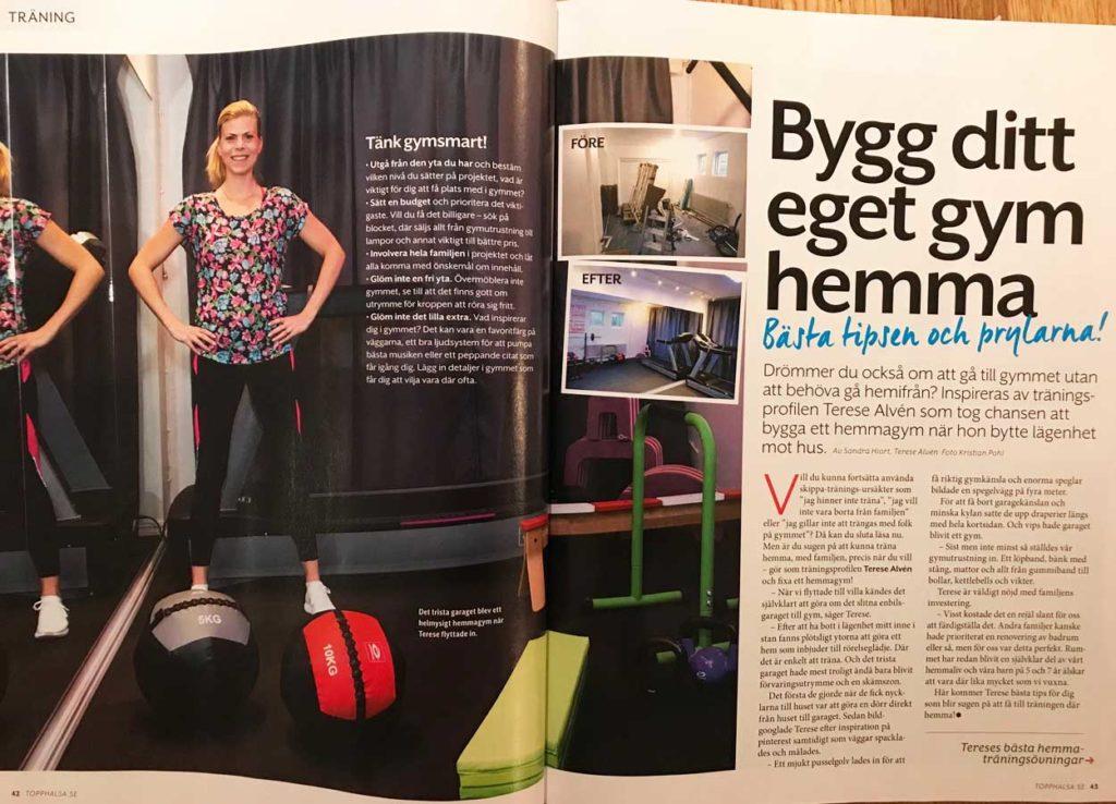 Reportage från ToppHälsa om mitt hemmagym.