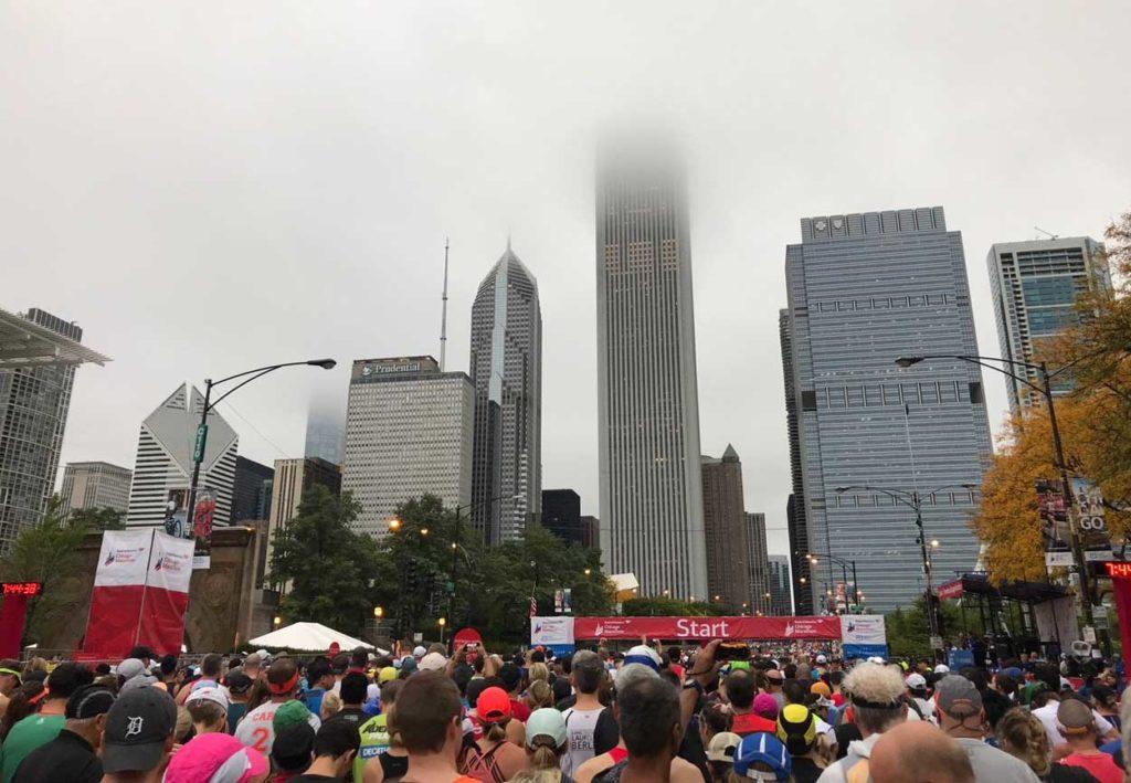 Strax innan start. Vackert med dimman.