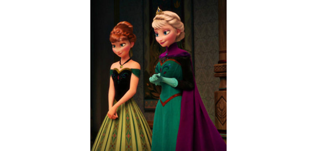 """Elsa och Anna när de träffas för första gången på flera år, deras första kommentarer till varandra är """"vad vacker du är""""."""