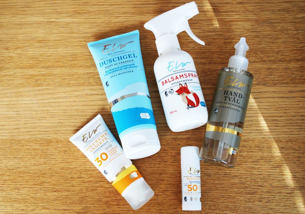 Hudvård med solskydd, balsamspray och rengöring.