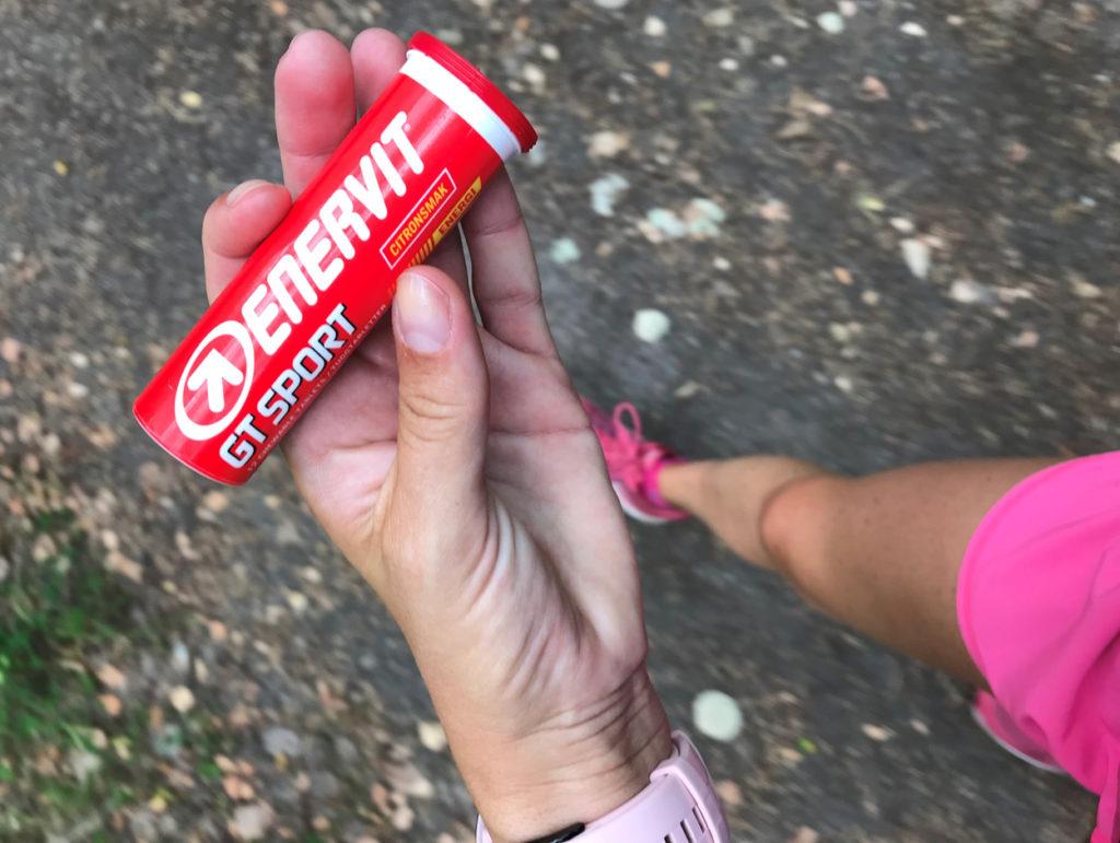Tabletter från Enervit som jag alltid har med på mina långpass samt maraton.