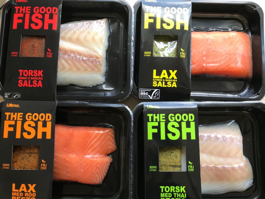 Två olika fisksorter, och fyra olika såser.