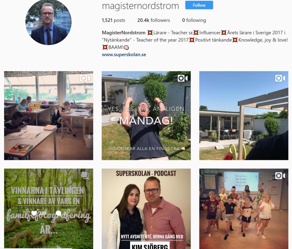 Magister Nordström på Instagram.