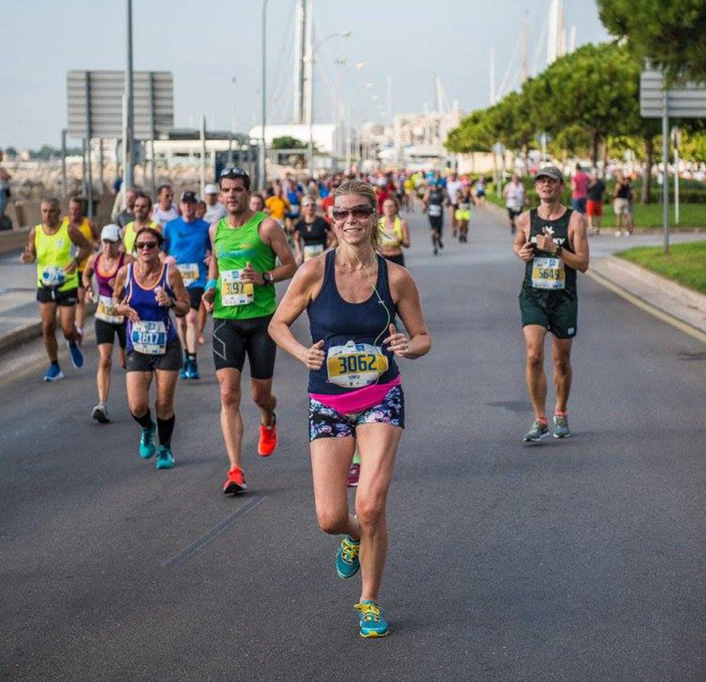 Ungefär halvvägs genom Palma Halvmarathon igår. Foto: Palma de Mallorca Marathon