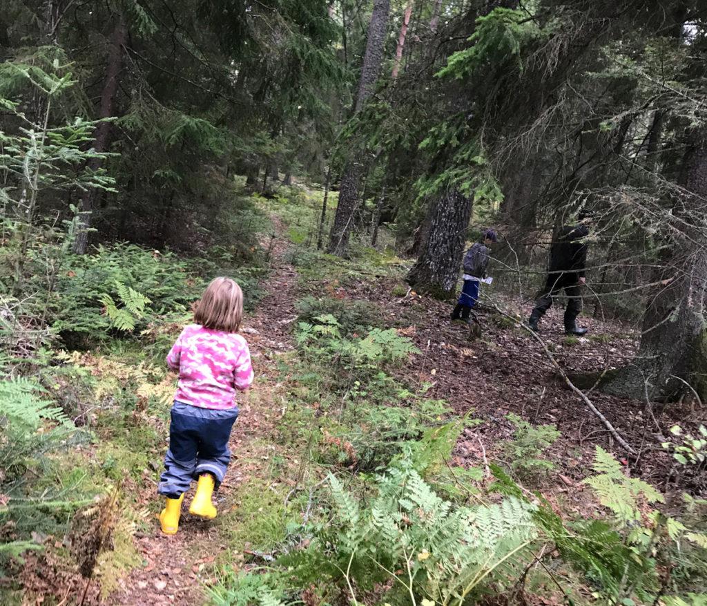 Vilken lyx att bara få promenera och umgås med familjen i skogen.