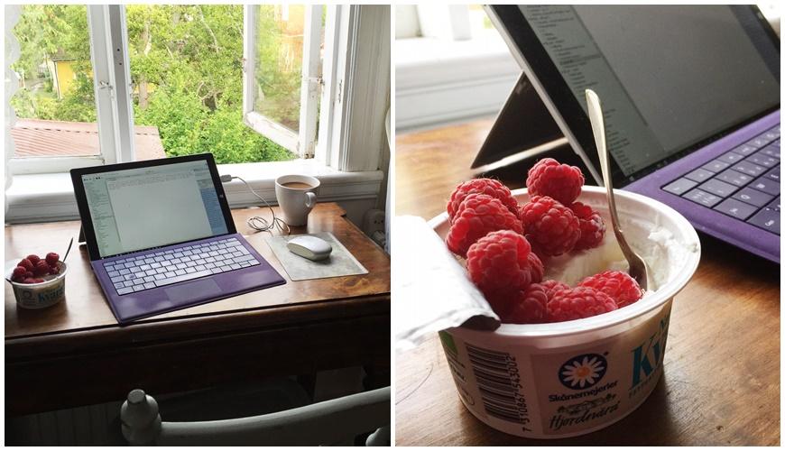 Precis som med träning gäller det att hitta tid till att skriva. Förra sommaren skrev jag en timme varje morgon innan familjen vaknade.