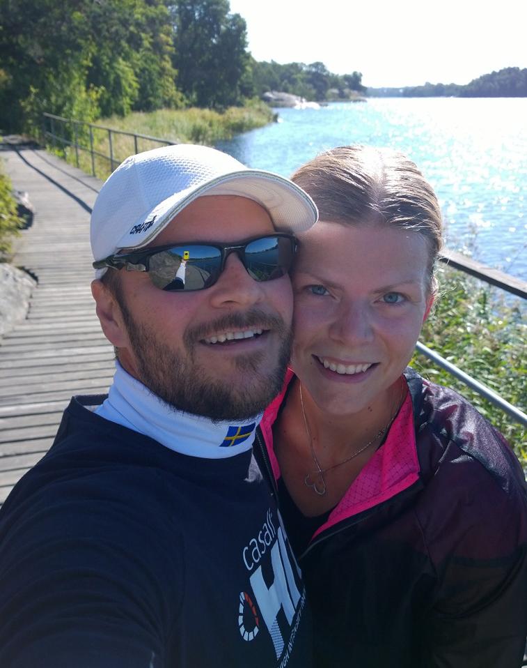 Terese och Glenn på gemensam löpning runt Brunnsviken förra året.