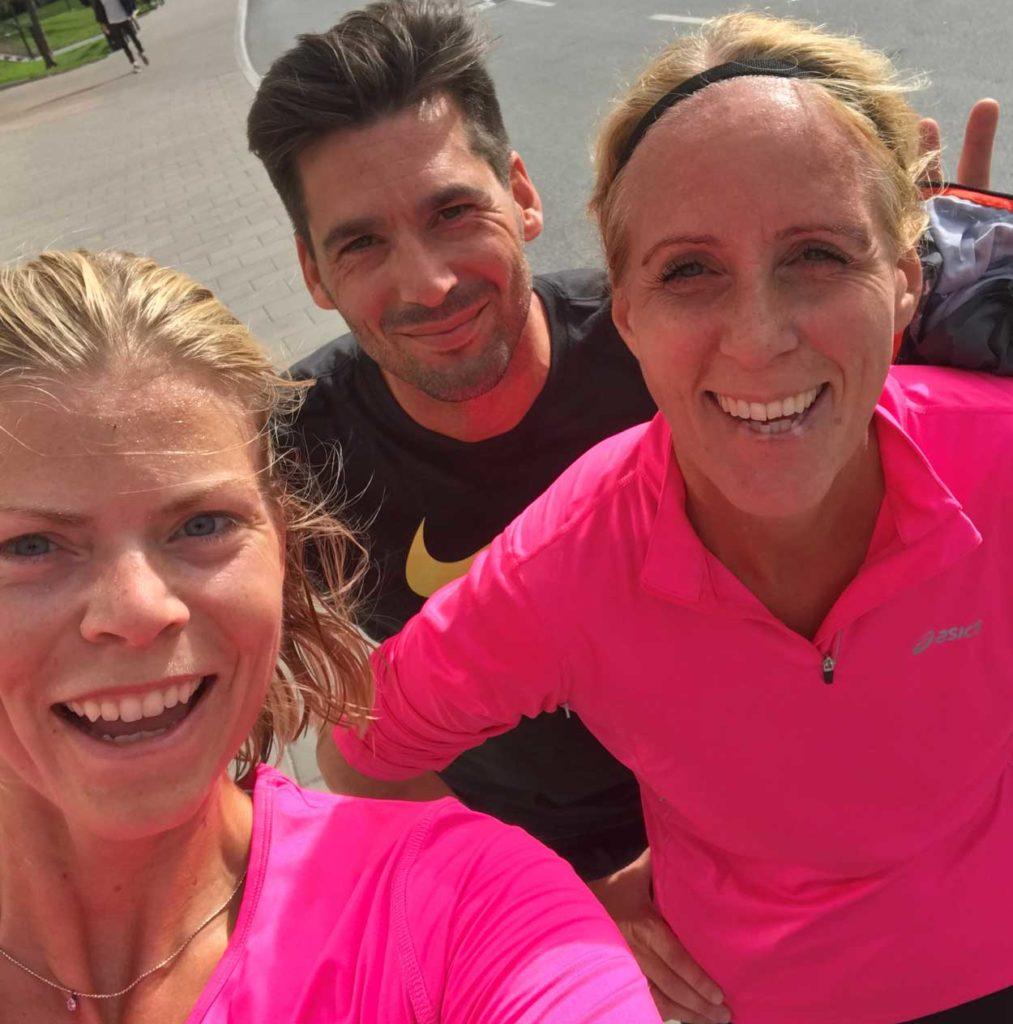 Löpning tillsammans med kollegor på lunchen - perfekt att springa i dagsljus.