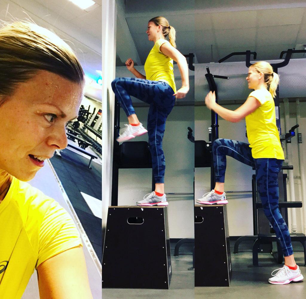Step up på hög låda, en av mina favoritövningar i gymmet då jag får bra kontakt med musklerna, och som idag ger mig träningsvärk.