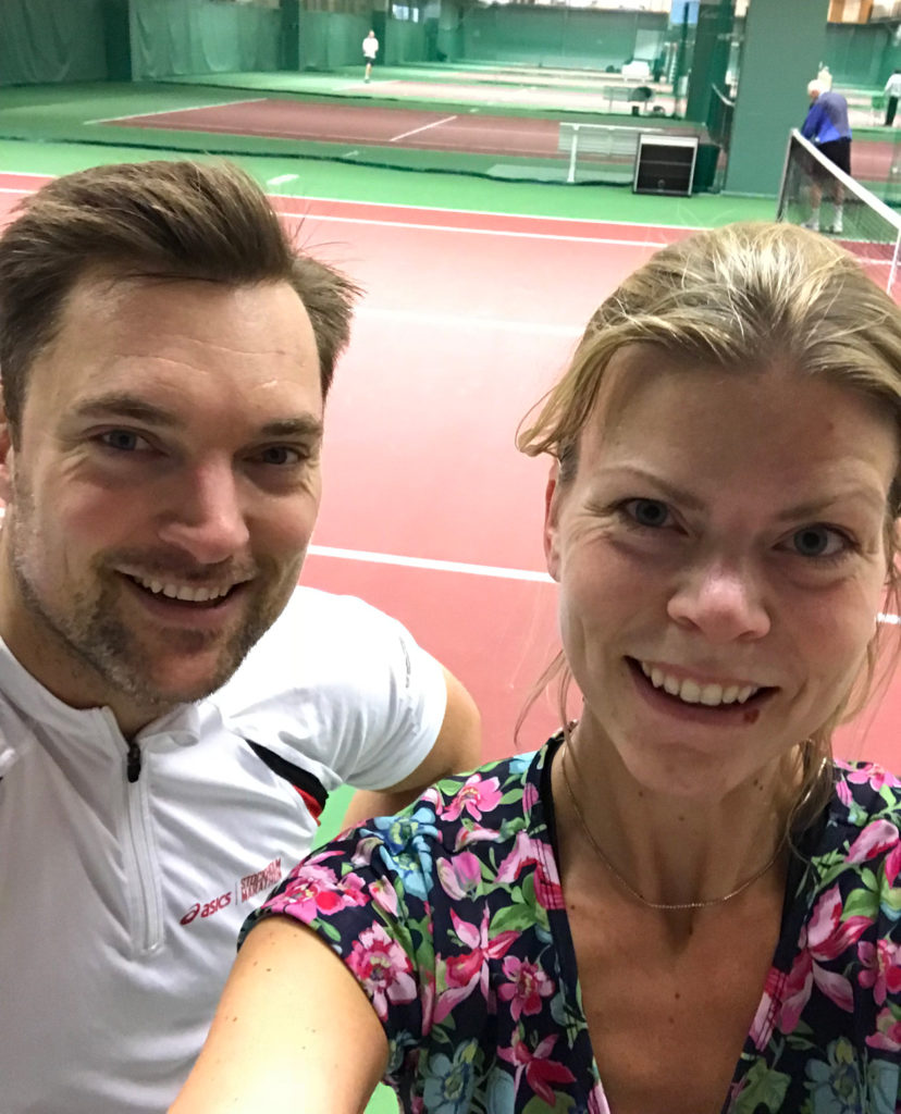 Tennismatch mot kollegan Rasmus. Jag förlorade med 6-8, men det var en spännande fight!