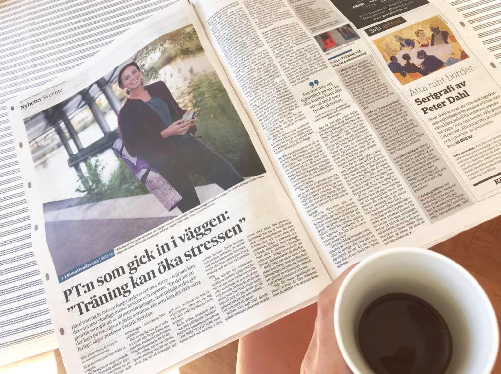 Träning och utbrändhet i Svenska Dagbladet.