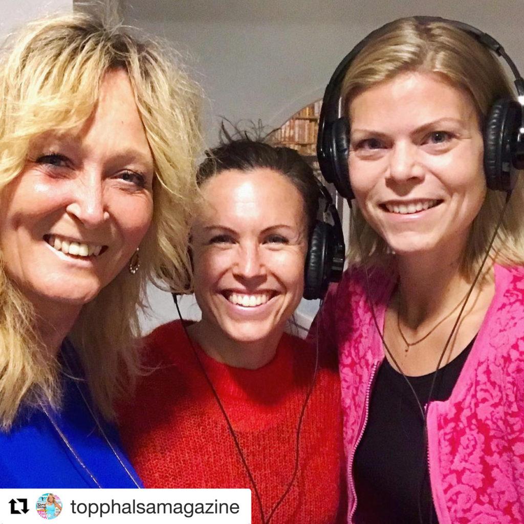 Inspelning av träningspodd: Pepp-podden med Pamela Andersson och Sandra Hiort från ToppHälsa.